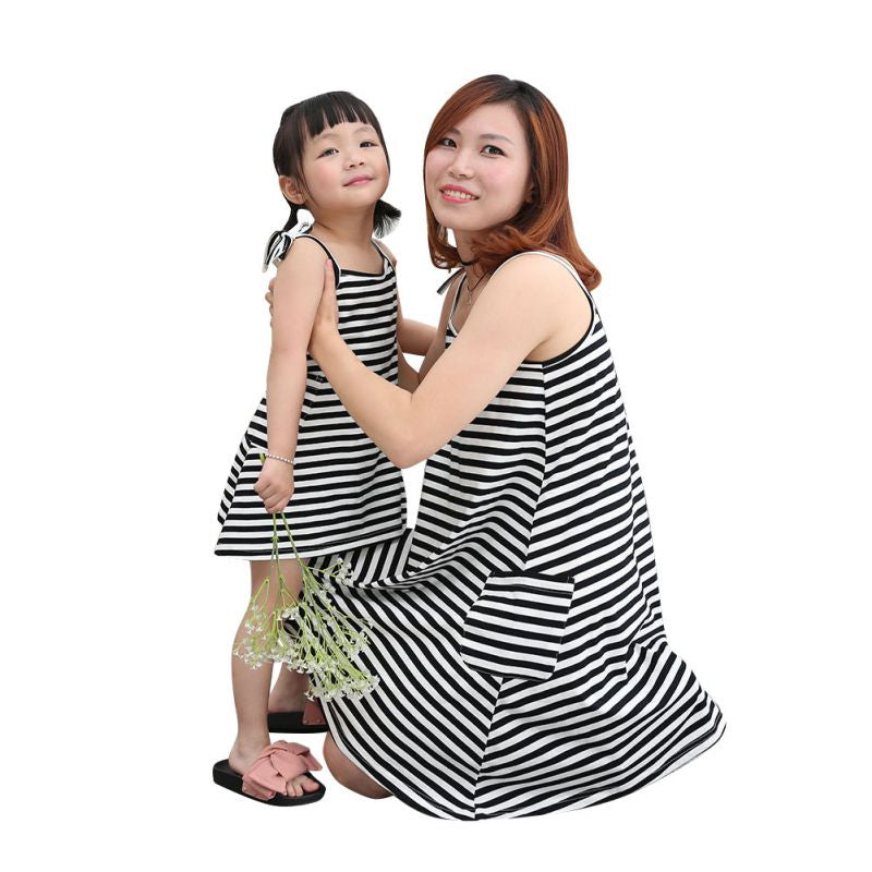 Mother Daughter Dresses Fashion Sleeveless Striped Family Look Matching Clothes Cotton Mom And Daughter Dress Family Clothing