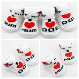 MOONBIFFY Baby socks rubber slip-resistant floor socks love dad love mum cartoon kids socks