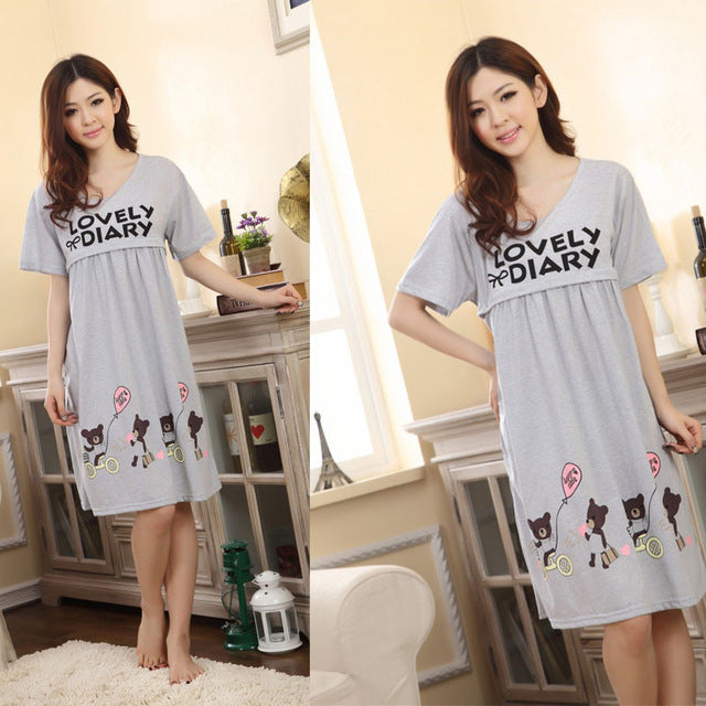 Maternity Nightwear Clothes For Pregnant Women Cotton Nursing Dresses Sleepwear Pregnant