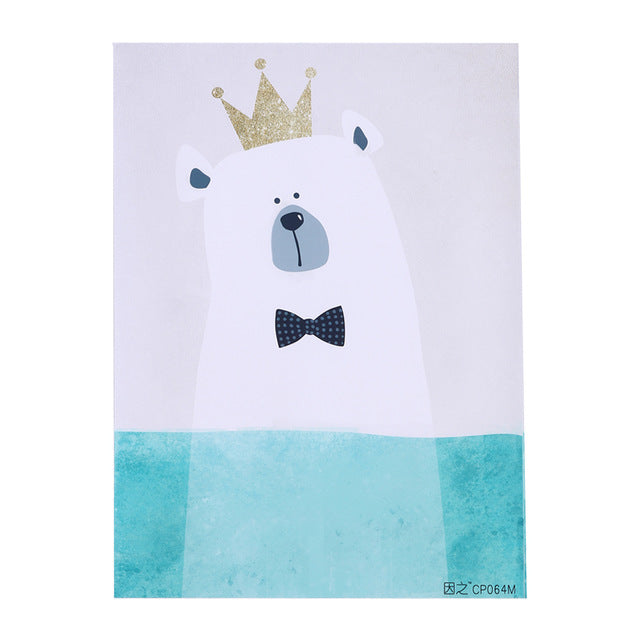 Cartoon Polar Bear Canvas Art Print Painting Poster Wall Picture for Home Decor Kids Baby Room
