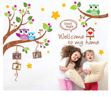 'Welcome to my home' Owls Family Tree Good Night Wall Art Decal Sticker Kids Room Nursery Mural