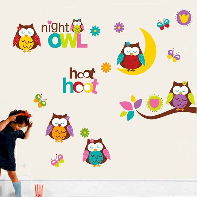 Good Night Owl Hoot Tree Branch Wall Stickers Decals Removable Kids Baby Nursery DIY Art Mural