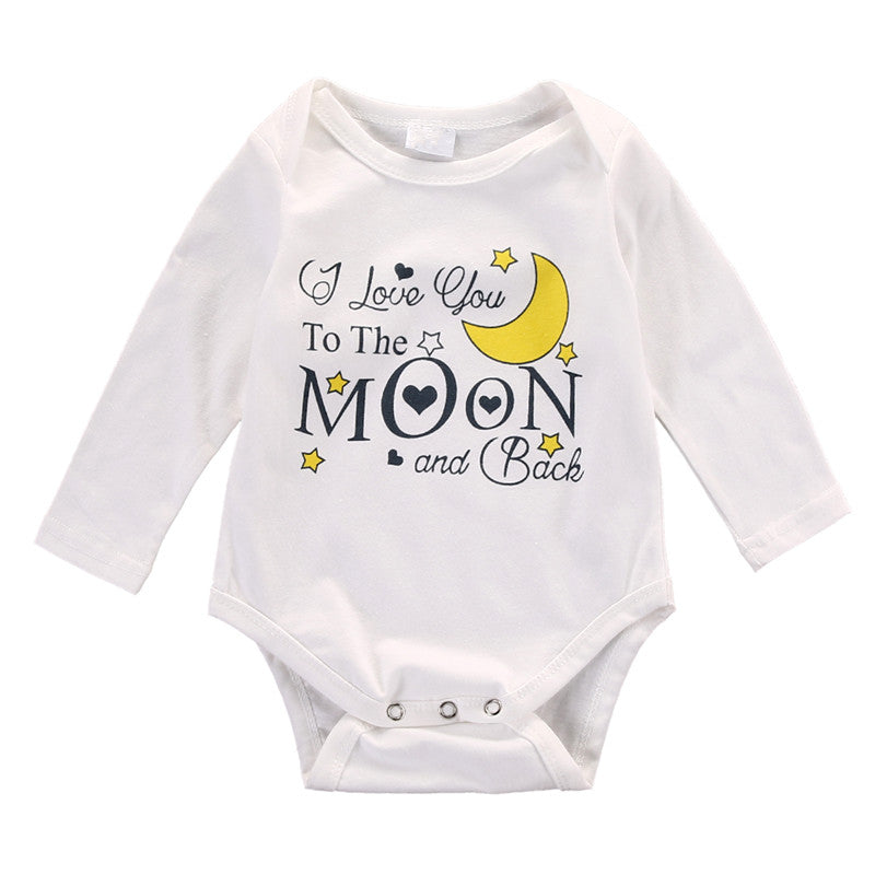 Newborn Infant Toddler Kids Baby Boy Girl Cotton Jumpsuit Moon Printed Casual Bodysuit Outfit
