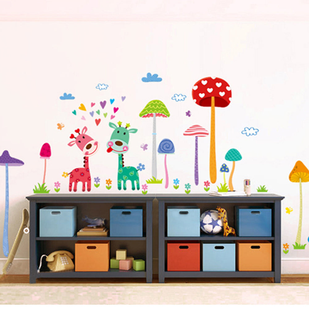 Cartoon Mushroom Forest Wall Stickers Removable Vinyl Decals for Bedroom Living Room Wallpaper