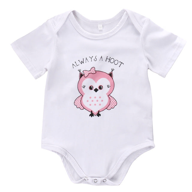 Newborn Toddler Infant Baby Boy Girl Playsuit Owl Printed Jumpsuit Bodysuit Clothes Short Sleeve