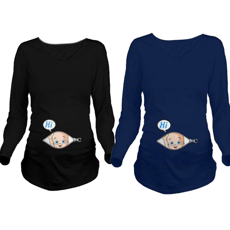 Cartoon Funny Maternity Shirts Pregnancy Long Sleeve Tee Shirt Pregnant Women
