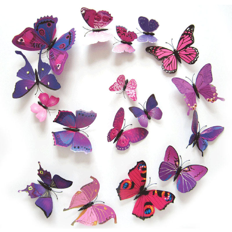 12Pcs/lot 3D PVC Butterflies Wall Stickers Decoration Magnet Butterflies on the wall DIY Wallpaper