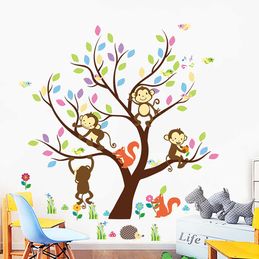Cartoon Animal Monkey Tree Wall Stickers for Bedroom Wallpaper Removable Art Decals Home