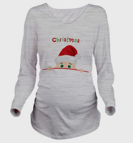 SexeMara Long Sleeve T shirt Christmas Printed Tops Plus Size