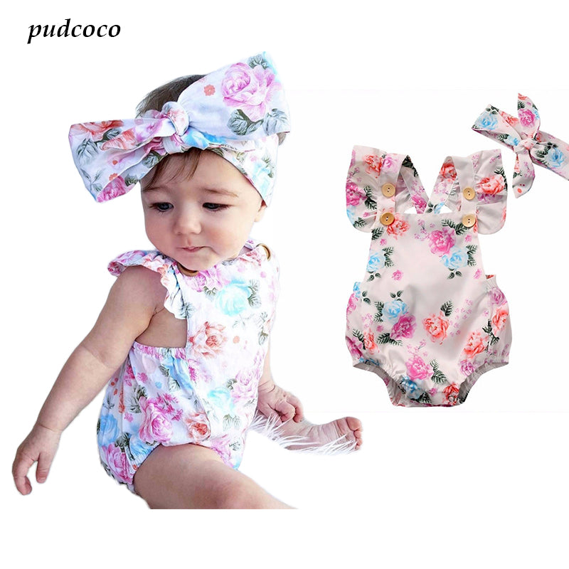 Newborn Baby Girls Print Cotton Clothes Sleeveless Floral Bodysuit + Headband Sunsuit Outfit
