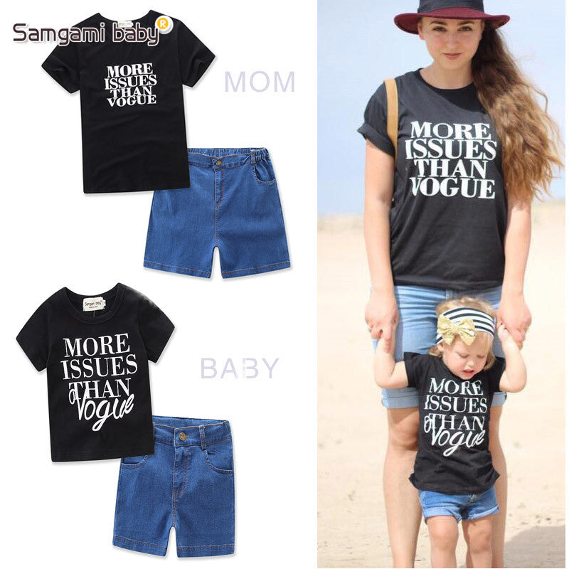 47724c7a31 ... Parent-child suit Mother Daughter clothing Summer Family Matching  Clothes T-shirt Top+