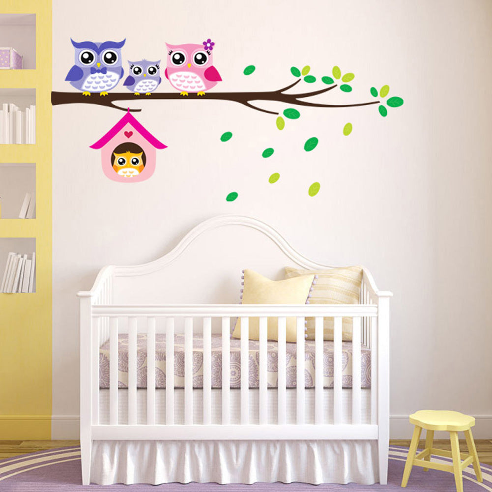 Cartoon Tree Owl Animal Wall Stickers for Kids Bedroom Kindergarten Nursery Wallpaper Art Decals