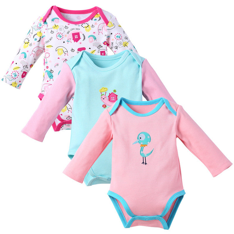 ae01009dc 3pcs/lot Newborn Baby Bodysuit Autumn Boys Girls Long Sleeve Cartoon Baby  Jumpsuit Kids