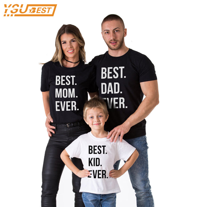 Family Look New 2019 Summer Family Matching Clothes Cotton Father Son Clothes Family Matching Shirts BEST DAD MOM KID EVER