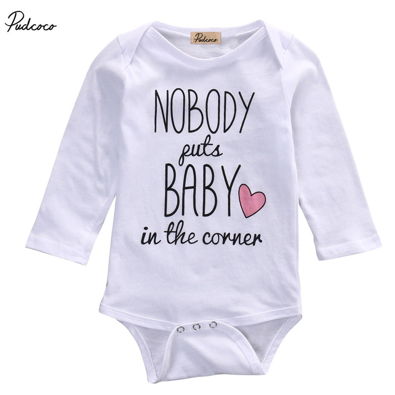 Newborn Baby boys girls letter Nobody Bodysuits onesie Infant Babies Kids Cute Cotton
