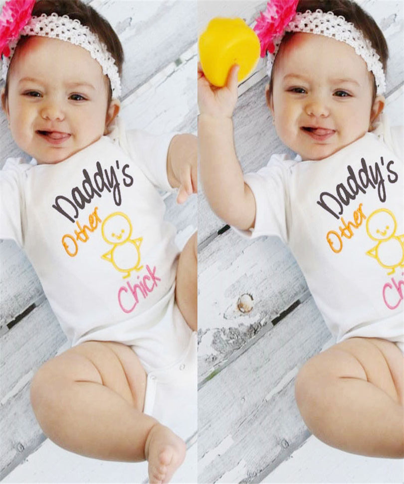 Cute Newborn Baby One-Pieces Bodysuit Girls Short Sleeve Onesie