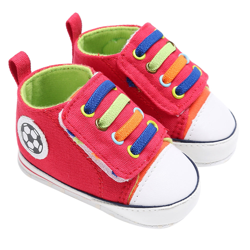 Infant Toddler Canvas Sneakers Baby Boys Girls Soft Sole Crib Shoes Newborn Soccer Print Red