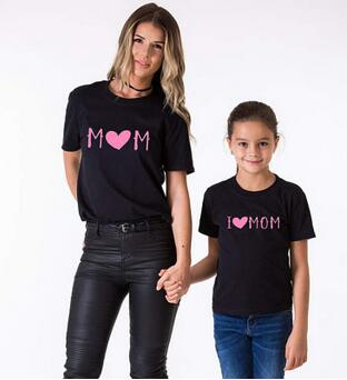 New 2019 Family Look Set Son Outfits Family Matching Mother and Daughter Clothes T Shirt I Love Mom Baby and Mum Mama Top Tees