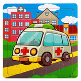 children's toy ambulance pattern Wooden Puzzle Educational toys Baby Kids Toy puzzles