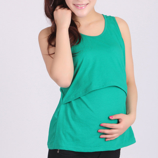 Maternity Feeding vest Pregnant Maternity Clothes Nursing Tops Breastfeeding Vest T-Shirt