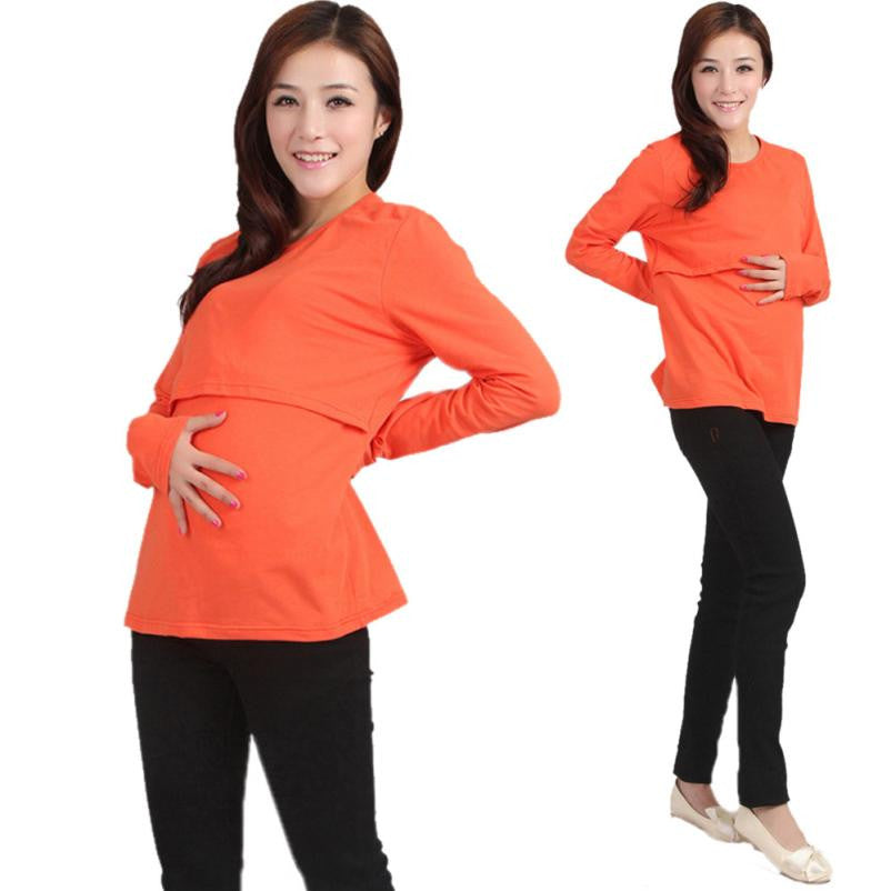 Pregnant Maternity Clothes Nursing Tops Breastfeeding Long Sleeve T-Shirt Long sleeves Drop ship