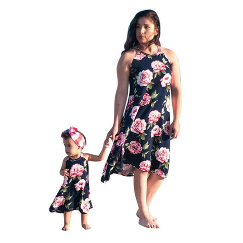 Summer Dress Floral Printed Family Dress Mother and Daughter Matching Womens Girls Knee-Length Halter Rose Dresses for Mother