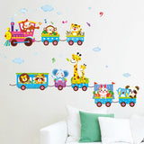 Carton Animals train Removable Kids Baby Nuresery Vinyl Wall Stickers Art Decor for kids rooms XT