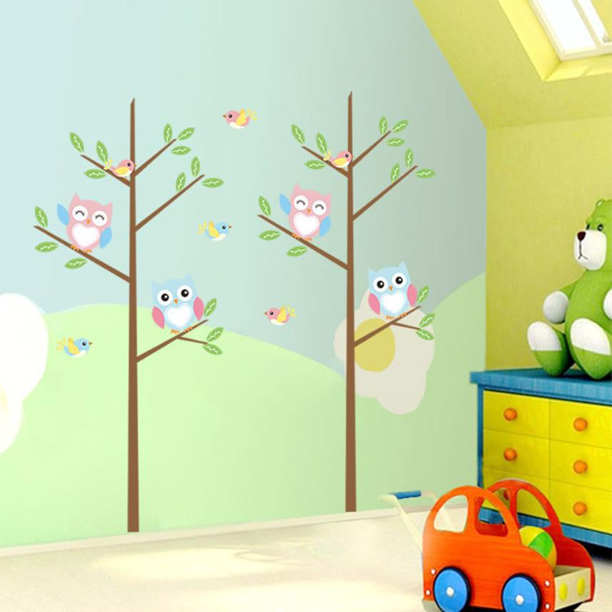 Bedroom Wall Sticker Decor Owl Decals Decoration for kids rooms wall art cartoon