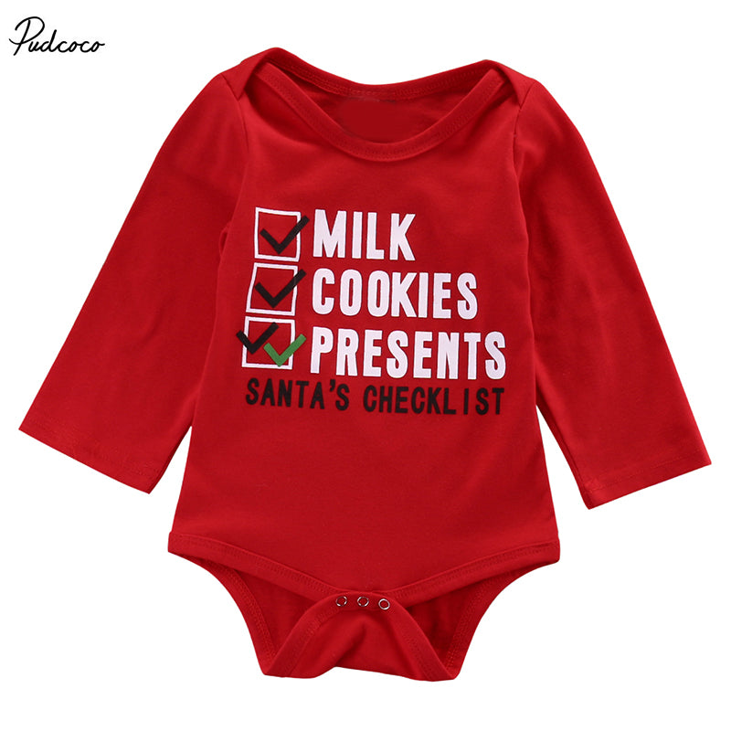 Infant Babies Bodysuit Outfits Kids Newborn Baby Boys girls Letter Santa's Checklist Xmas onesie