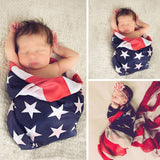 American Flag Baby Swaddle Blanket