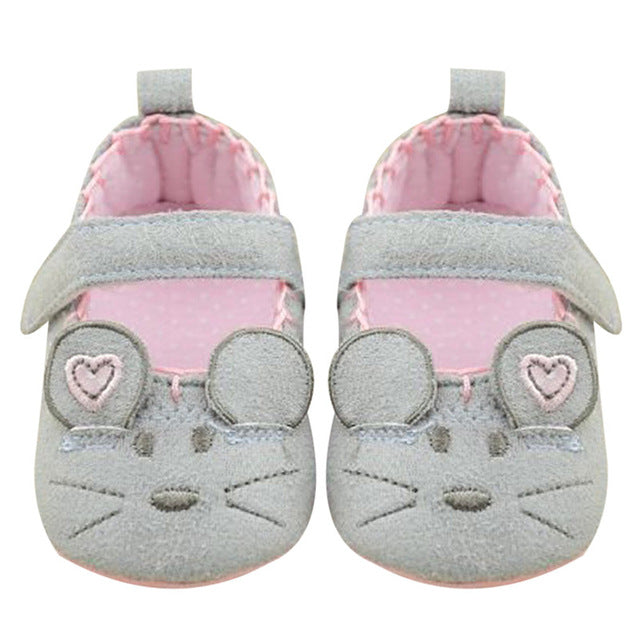 Baby Girl Shoes Spring Summer Cute Mouse For Girls Kids Bow Slip-on Frist Walker Cotton Soft
