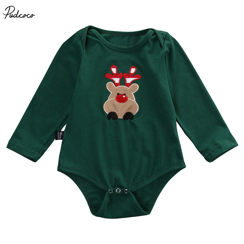Newborn Infant Baby Boy Girl Christmas Deer Bodysuits Babies Xmas Playsuit Outfits New Clothing