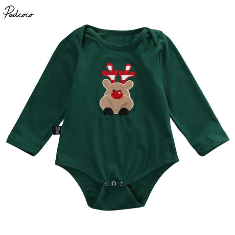 493afcf708376 Newborn Infant Baby Boy Girl Christmas Deer Bodysuits Babies Xmas Playsuit  Outfits New Clothing