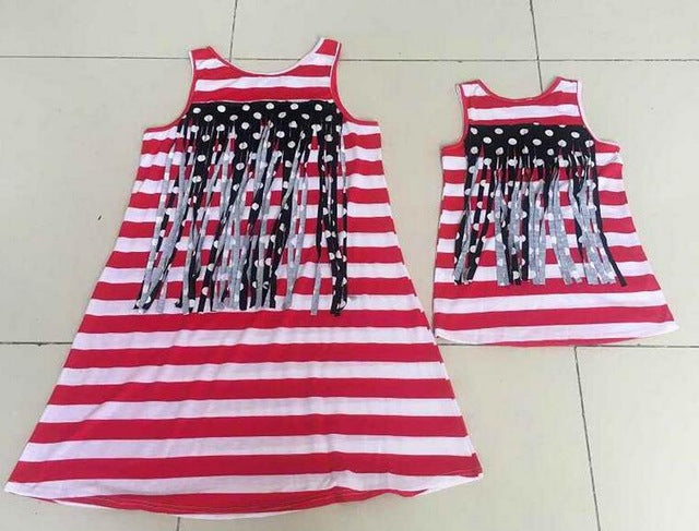Eafreloy Fashion Family Look Mom And Daughter Dress Summer Sleeveless America Flag Back Tassel Dress Matching Family Clothes