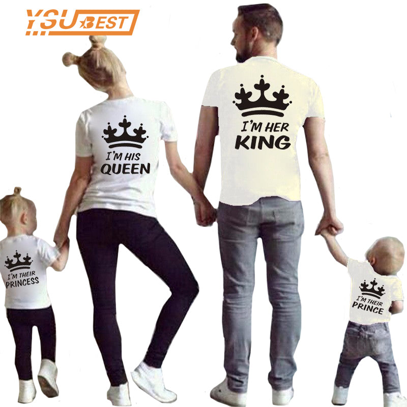 Matching Family Clothes Mother & kids T-shirt Boys Crown T Shirt Plus Size Mom & Me Father and Son Mother and Daughter Clothes