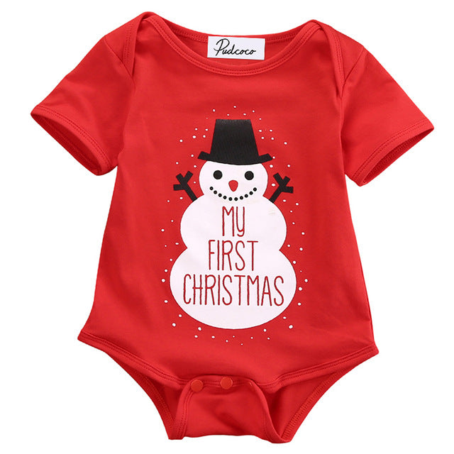 'My First Christmas' Baby Red Cotton Onesie