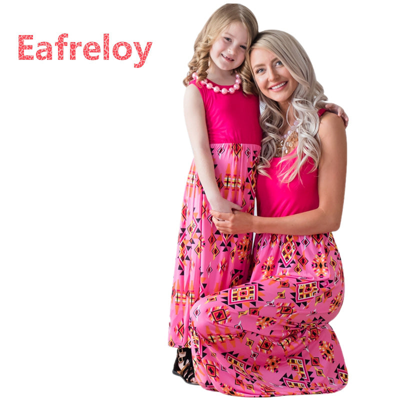 Eafreloy Mom and Daughter Dresses 2019 Hot Sale Summer Geometric Print Apparel Patchwork Dress Matching Family Clothes