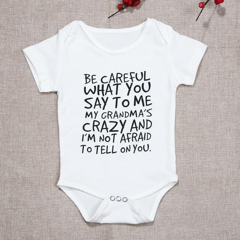 Unisex Newborn Clothes Baby Kids Short Sleeve Letter Printed Bodysuit Baby Boys Girls Cotton