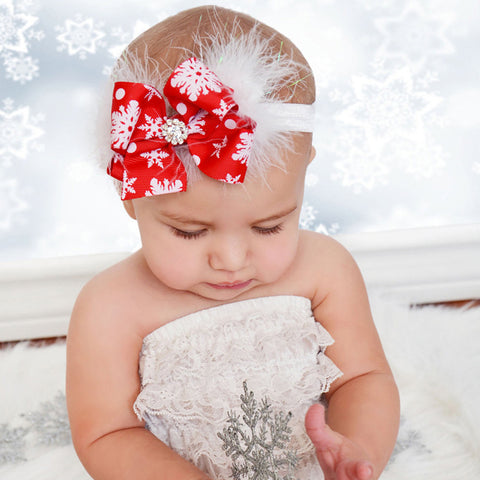 Christmas Red Bow Feather Headband Snow Flower Girls Hair Headwear Photography Props
