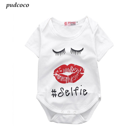 Infant Baby Girl Lips Bodysuit,Newborn Girls Red Lip Bodysuits Jumpsuit Letter Printed Outfit 0-24M