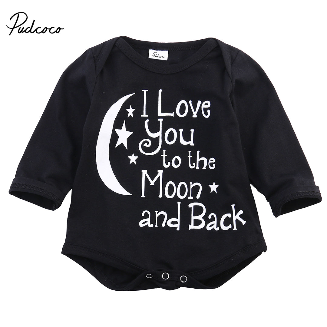 Pudcoco 0-24M Newborn Baby Boys Clothes Long/Short Sleeve Letter Print Bodysuit Black Triangle