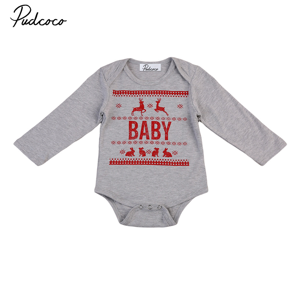Pudcoco 2019 0-24M Newborn Baby Boys&Girls Cotton Bodysuits Autumn Long Sleeve Christmas Style