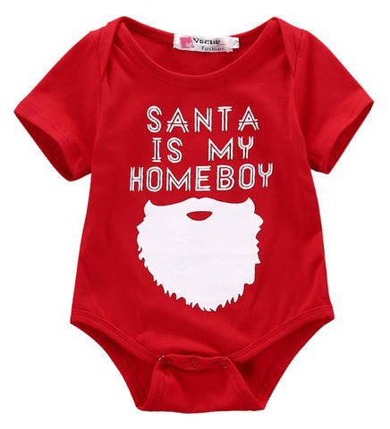'Santa is My Homeboy' Baby Red Cotton Onesie