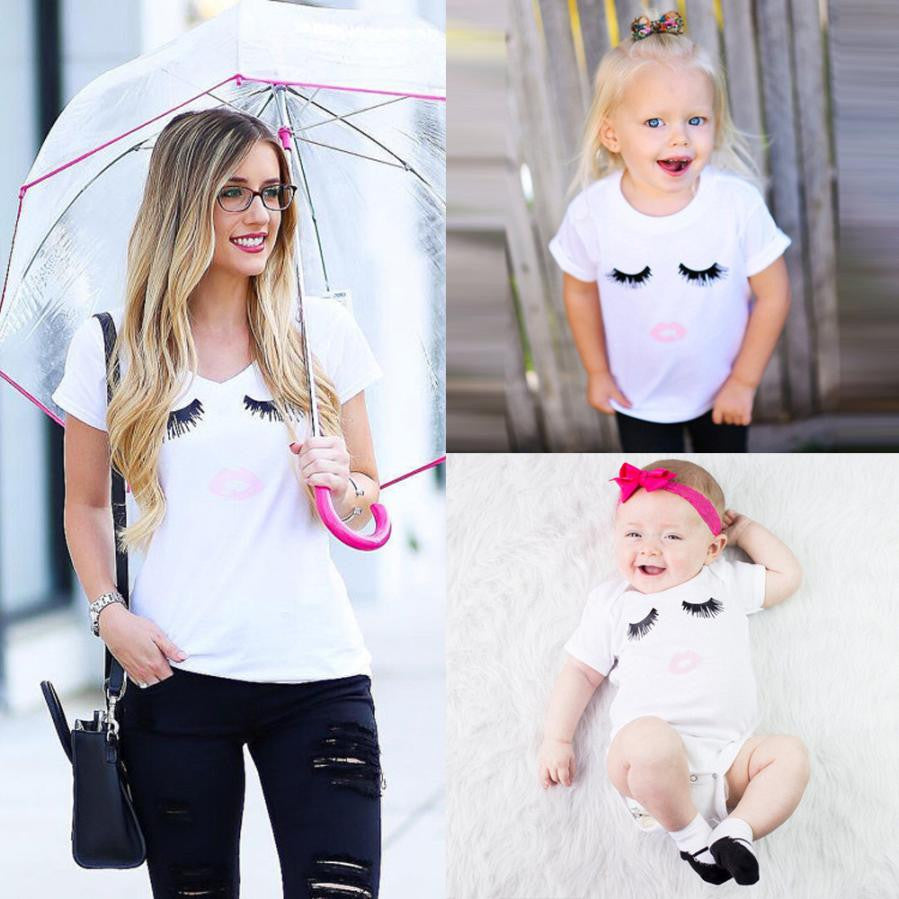 Mother And Baby Eyelashes Lips Short Sleeve T-shirt and Rompers Family Look Matching Clothes