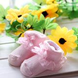 Cute Baby Socks Toddlers Girls Combed Cotton Ankle Short Lace Bowknots Socks Anti-skid