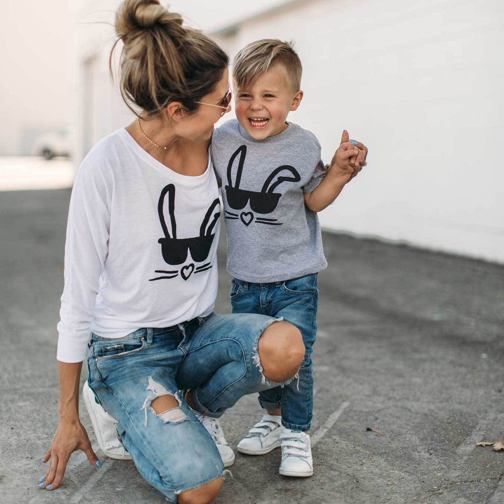 Family Cute Mother Children Long Sleeve T-shirt Tops Blouse Matching Outfit For Kids