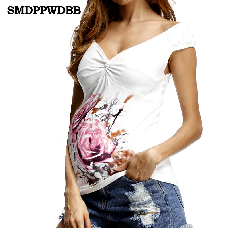 SMDPPWDBB Summer White Maternity T Shirt Fashion Maternity Tops For Pregnant Women Tee V-Neck