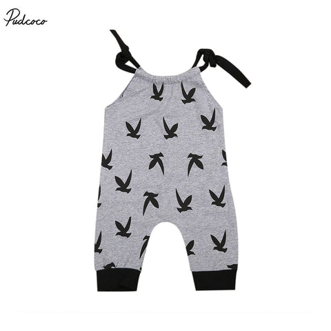 Newborn Baby Boys Girls Cotton Bird Gray Romper Sleeveless Strap Playsuit Onesie