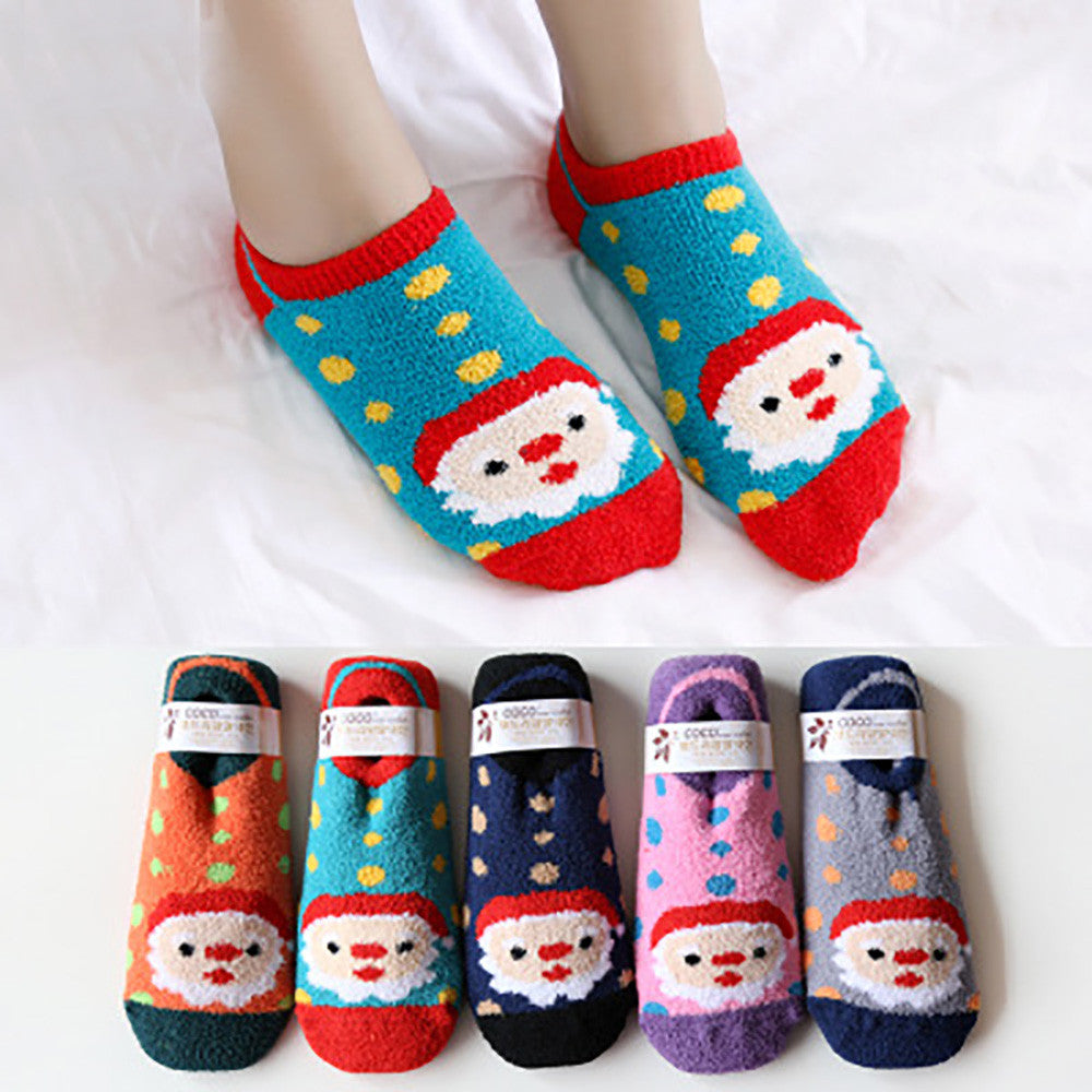 Christmas Suede Leather Cute Soft Breathable Warm Socks