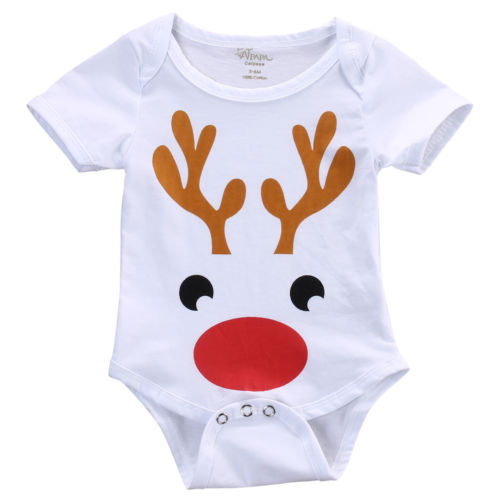 Lovely Baby Christmas Deer Clothes Cotton Romper Toddler Boys Girls Clothes Outfit 0-24M